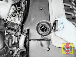 Illustration of step: Open oil filler cap, replace cap when the cover is removed - step 18
