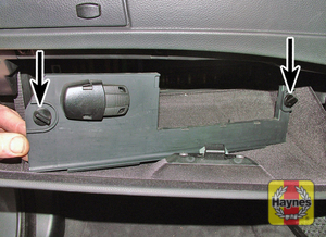 Illustration of step: Open the glovebox, rotate the fasteners anticlockwise and remove the fusebox cover - step 1