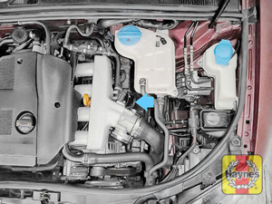 Illustration of step: General location, the oil filter is at the front of the engine block - step 1