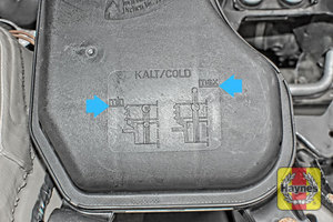 Illustration of step: Look at the MAX-MIN diagram on the top of the coolant reservoir, showing the float indicator positions - step 2