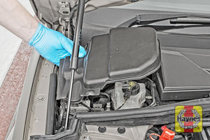 Illustration of step: Locate the brake fluid reservoir, remove the protective cover - step 1