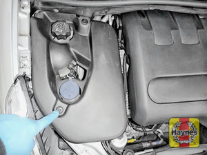 Illustration of step: Remove cover to locate the steering fluid reservoir - step 1