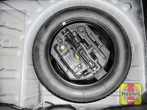 Illustration of step: Finally, check the condition of the spare wheel / emergency tyre repair system - step 15