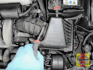 Illustration of step: Undo the circular clip on the air intake - use a 7mm socket or Phillips screwdriver - step 2