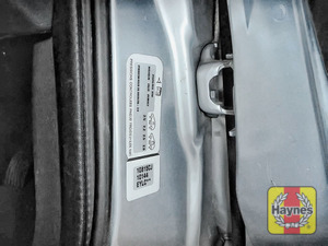 Illustration of step: Look for a sticker showing your vehicles tyre pressures, located in the driver's door aperture - step 1