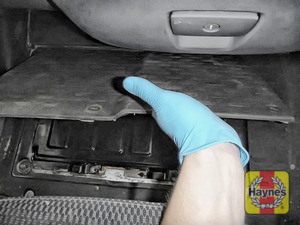 Illustration of step: The battery is beneath the passenger footwell - step 1