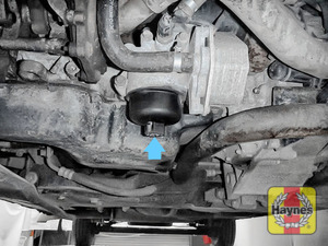 Illustration of step: General location of oil filter - it's at the base of the engine - step 1