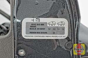 Illustration of step: Look for a sticker showing your vehicle's tyre pressures, located in the driver's door aperture - step 1