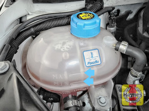 Illustration of step: Look for the MAX-MIN position on the side of the coolant reservoir, if the level is below MIN you will need to add more coolant - step 2