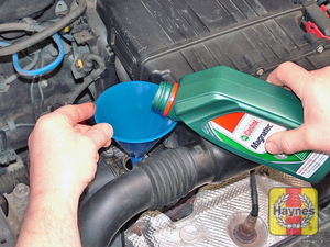 Illustration of step:  Use a funnel to reduce spillage - The correct oil - step 15