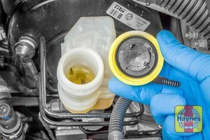 Illustration of step: If the level needs topping up - WEARING GLOVES - carefully open the cap, have a paper towel ready to catch any drips as brake fluid is corrosive! - step 3