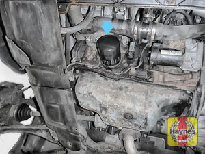 Illustration of step: General location – the oil filter is accessed from underneath the car - step 1