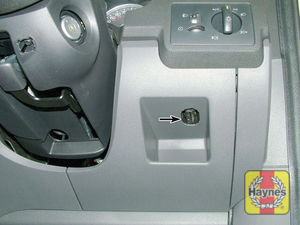 Illustration of step: The diagnostic socket is located beneath the driver's side of the facia - step 2