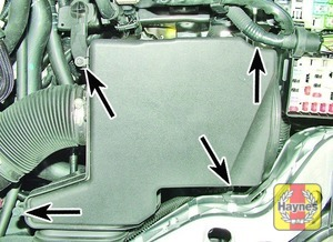 Illustration of step:  2a Undo these four air filter cover bolts (arrowed) - step 3