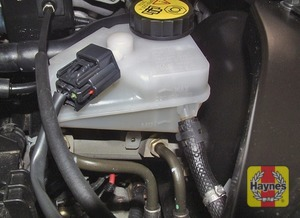 Illustration of step:  The brake fluid reservoir is located on the left-hand side of the engine compartment (left as seen from the driver's seat) - Safety first! - step 33