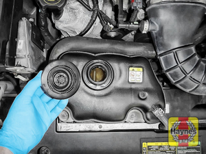 Illustration of step: ONLY WHEN COLD! - undo the cap to add more coolant - step 2