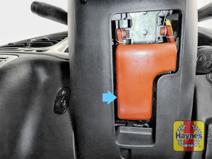Illustration of step: You will find the bonnet lever here, it's under the steering column - step 1