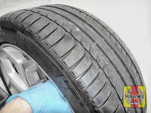 Illustration of step: Before refitting the wheels, take a look at the tyre tread, as there is a UK legal requirement to have a minimum of 1 - step 14