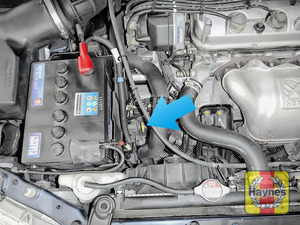 Illustration of step: The transmission fluid dipstick is located here - step 4