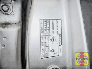 Illustration of step: Look for a sticker showing your vehicle's tyre pressures located in the driver's door aperture or inside fuel flap - step 3