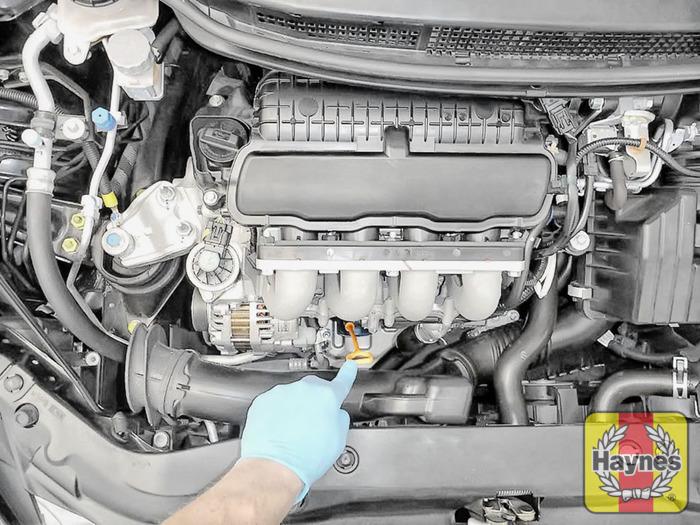 Honda civic 2006 2012 1 4 i vtec checking oil level for 2006 honda civic motor oil