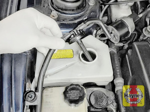Illustration of step: ONLY WHEN COLD undo the cap to add more coolant - step 4