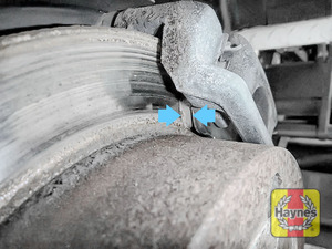 Illustration of step: Now locate the brake pads, there are two, one on each side of the disc - step 6