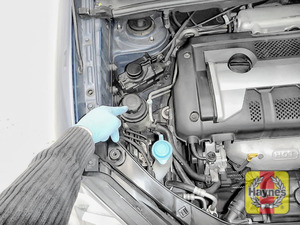 Illustration of step: The power steering fluid reservoir is located here, Always wear gloves! - step 1