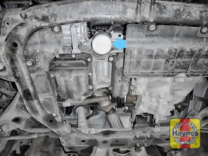 Illustration of step: General location of the oil filter; on this model you access the oil filter from underneath the car - step 1