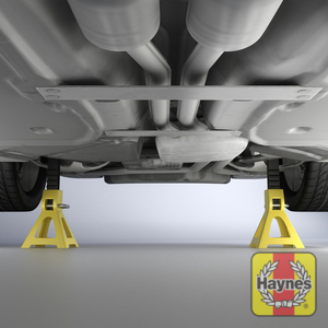 Illustration of step: ALWAYS support the trolley jack with axle stands placed at the specified jacking points - step 5