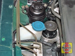 Illustration of step:  The washer fluid reservoir filler neck is located on the right-hand side of the engine compartment - Washer fluid level - step 31