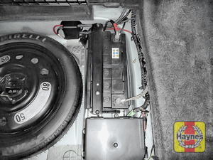 Illustration of step: Locate the battery, it is in the boot of this vehicle - step 1