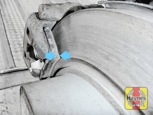 Illustration of step: Locate the rear brake pads - step 11