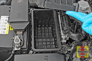 Illustration of step: Check the air filter box for debris - step 5