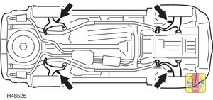 Illustration of step:  On models with steel coil spring suspension, position the jack under the jacking point on the relevant suspension lower arm - Changing the wheel - step 8