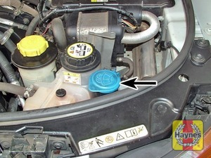 Illustration of step:  The screen washer fluid reservoir is located in the front, left-hand corner of the engine compartment - Screen washer fluid level - step 42