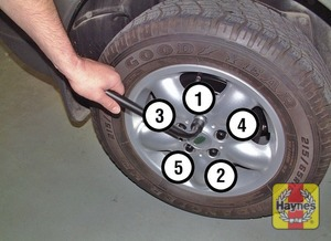 Illustration of step:  Lower the vehicle to the ground and tighten the wheel nuts in a diagonal sequence - step 9