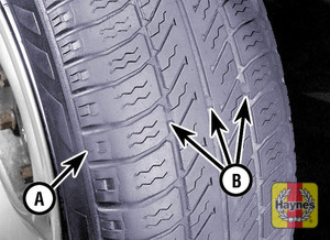 Illustration of step: The original tyres have tread wear safety bands (B), which will appear when the tread depth reaches approximately 1 - step 1