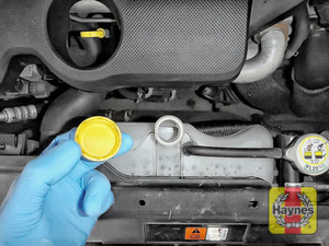 Illustration of step: ONLY WHEN COLD - Undo the cap to add more coolant - step 3