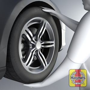 Illustration of step: With the front wheel off the ground, check for wear in the wheel hub bearings by grasping the wheel and trying to rock it - step 1