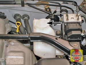 Illustration of step:  The screen washer fluid reservoir is located at the left-hand side of the engine compartment - Screen washer fluid level* - step 51
