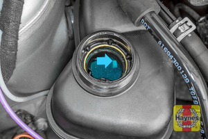 Illustration of step: If the coolant level is up to the marker bar there is sufficient coolant - step 4
