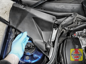 Illustration of step: Locate the brake fluid reservoir - undo two clips and remove this cover - step 1