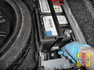 Illustration of step: Check battery is generally secure, if loose, tighten the battery retainer - step 7