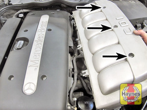 Illustration of step:  Undo the fasteners and remove the cover - in-line engines  - Power steering fluid - step 49