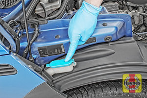 Illustration of step: Locate the first screen wash filler cap - step 1