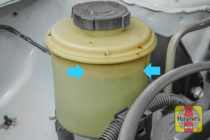 Illustration of step: Look on the side of the steering fluid reservoir for the MAX-MIN positions - step 2