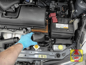Illustration of step: Carefully lift away the air filter box to access the air filter - step 3