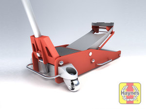 Illustration of step: Always use a hydraulic trolley jack; never use the emergency jack supplied with the car - step 3