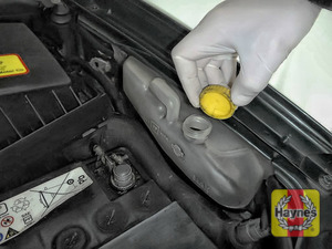 Illustration of step: ONLY WHEN COLD undo the cap to add more coolant - step 3